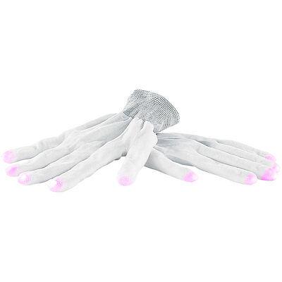 Leucht Handschuhe: Weiße LED-Disko-Handschuhe mit 6 Leuchtprogrammen, Größe L