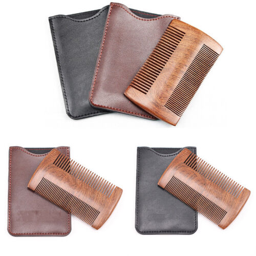 Mens Wooden Beard Comb Anti Static Wood Pocket Comb with Fin