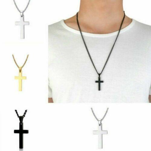 Cross Pendant Necklace Stainless Steel Unisex Crucifix Men W