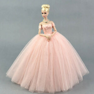 Pink Wedding Dress for Barbie Doll Princess Long Dresses Doll Clothes for Barbie