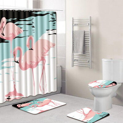 3D Flamingo Bathroom Shower Curtain Set Curatin +  Floor Mats + toilet seat