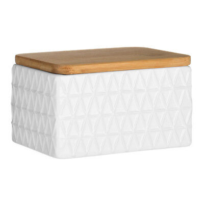Premier Housewares Butter Dish White with Bamboo Lid Modern Home Stylish