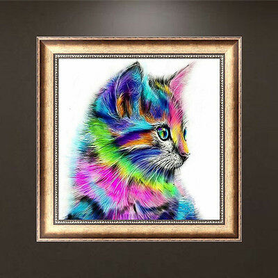DIY 5D Diamond Embroidery Mosaic Colorful Cat Painting Cross Home Decor USA