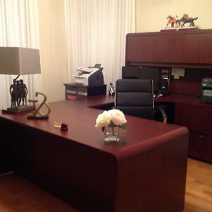 OFFICE/DEN DESK WITH CREDENZA AND LARGE WALL UNIT BOOK SHELF