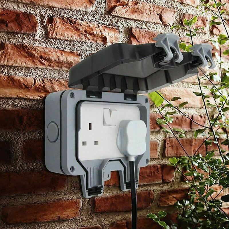 Waterproof Outdoor 13a 2gang Storm Switched Socket Double