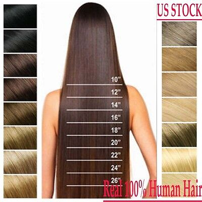 US Full Head Clip in 100% Remy Human Hair Extensions 15-26 inch Black Brown