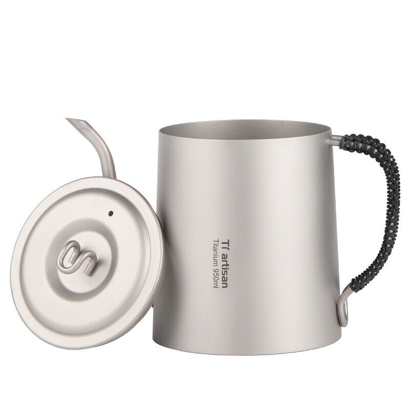 Titanium 1.0L Kettle Camping Picnic Cookware Coffee Tea Water Pot