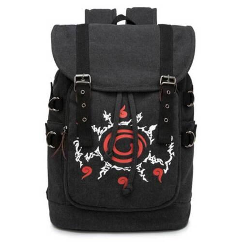 Naruto Kyuubi Seal Four Symbols Canvas Drawstring Backpack Bucket Bag Rucksack