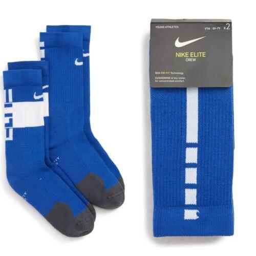 New Nike Youth Kids Boys 2PK Elite Crew Socks Blue/White Sizes S/M - 3Y up to 7Y