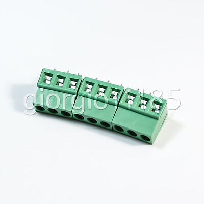 Us Stock 20x 5mm Pitch 3 Pin 3 Way Pcb Screw Terminal Blocks Connector Green