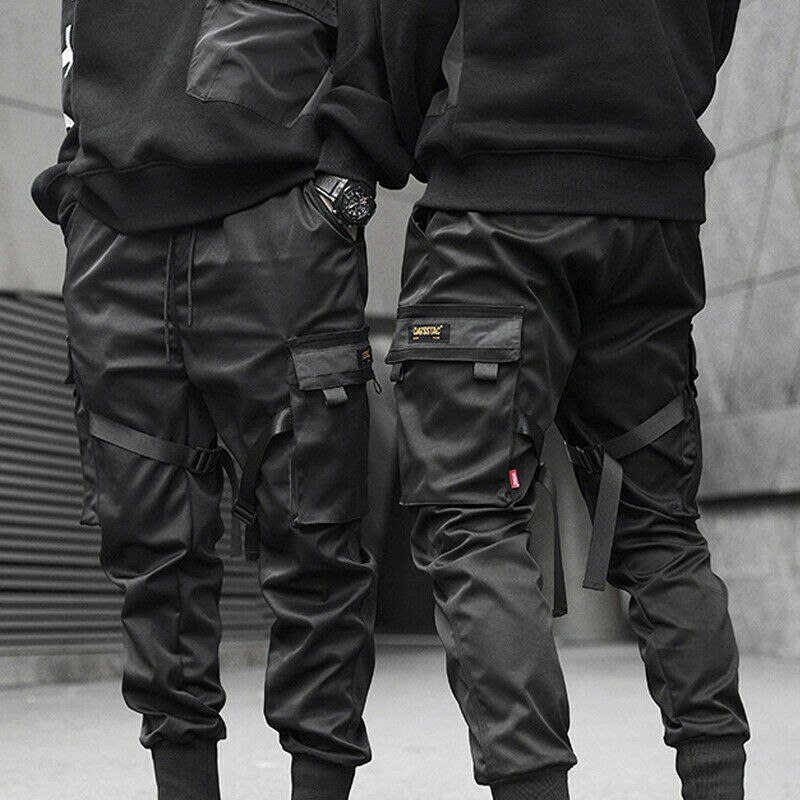 Men Fashion Hip Hop Black Tactical Cargo Bottom Pants Joggers Street Trousers Ca