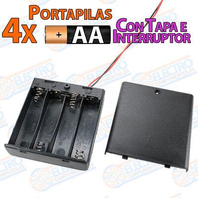 PORTAPILAS 4x AA con tapa R6 6v cable alimentacion PCB battery holder