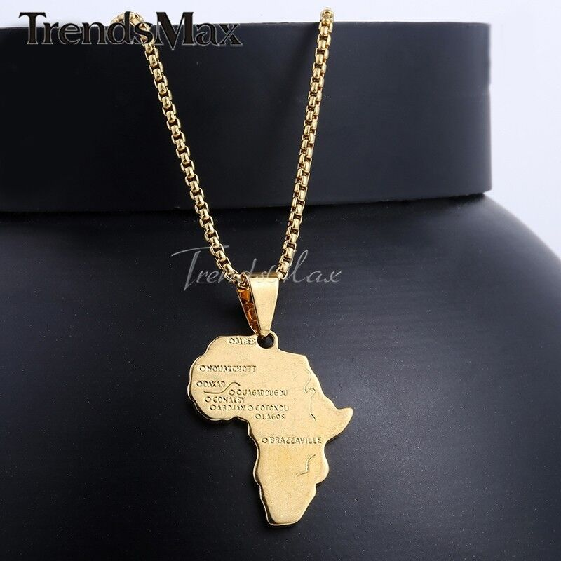 """Jewellery - 18""""-30"""" Men Women Gold Filled Africa Map Pendant Necklace Stainless Steel Chain"""