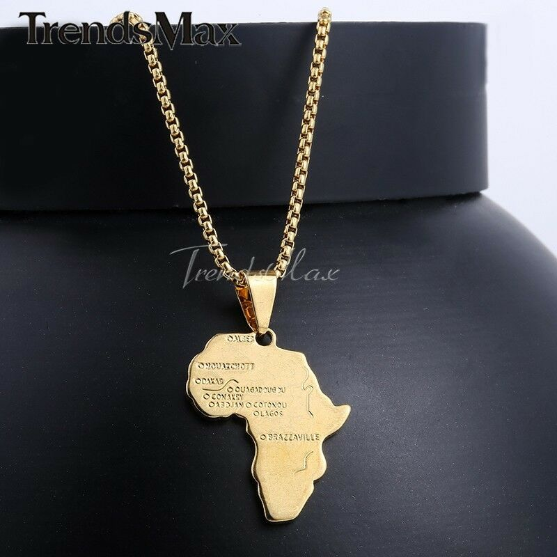 Men Women Gold Filled Africa African Map Pendant Necklace Chain Valentine's Gift