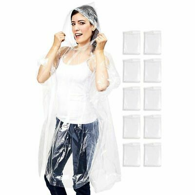 Rain Ponchos - 10-Pack Disposable Adult Clear Rain Ponchos w