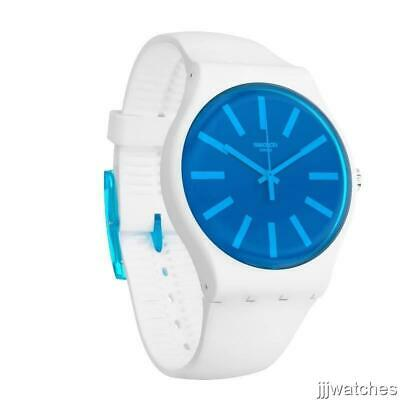 New Swiss Swatch Originals GLACEON White Silicone Watch 41mm SUOW163 $80
