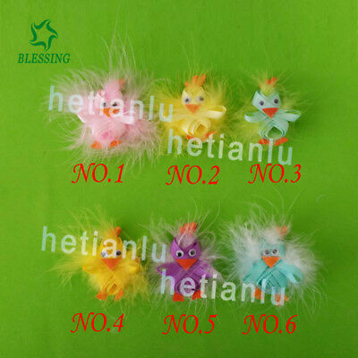 """20 BLESSING Girl 2.5"""" Clip Easter Hair Bow Baby Fashion Feather Rabbit Chicken  for sale  Shipping to India"""