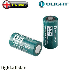 2 Pack Olight 16340 RCR123A 3.7v Lithium-ion Rechargeable Battery for (S1 S10R)