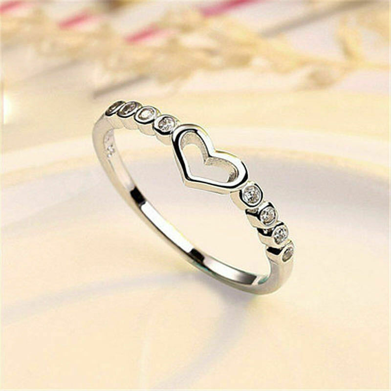 Jewellery - Tiny Heart Adjustable Ring 925 Sterling Silver Womens Girls Jewellery Gift UK