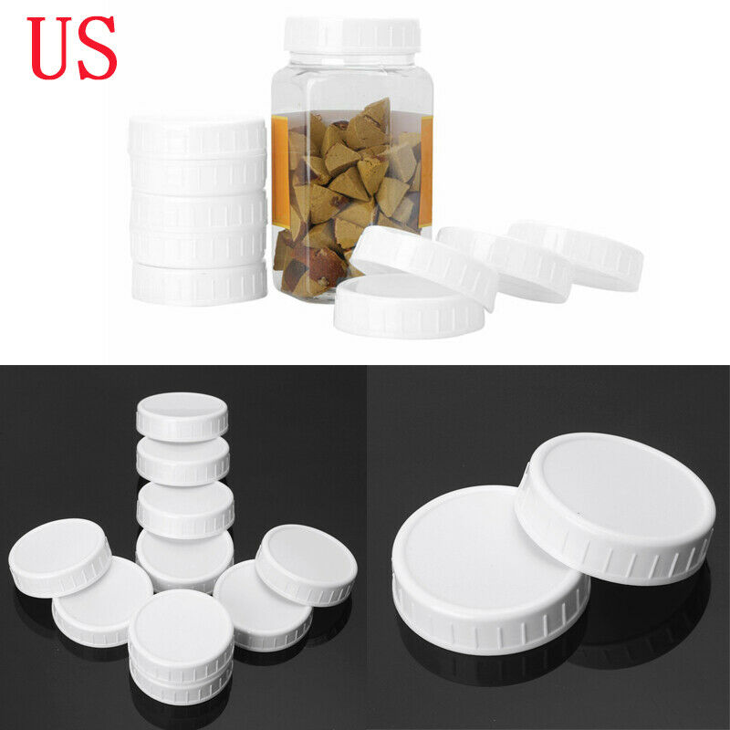 10Pcs Plastic Leakproof Airtight Cap Unlined Ribbed Lids for