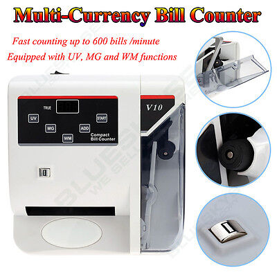 V10 Portable Usd Euro Bill Cash Money Currency Counter Wuv Mg Counting Machines