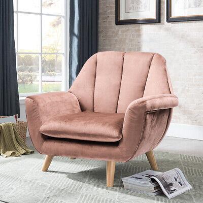 Vintage Stripe Back Armchair Chair Lounge Sponge Blush Pink Velvet Upholstery