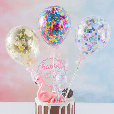 Cake Topper Decoration Mini Confetti Balloon With Paper Straw Ribbon Party 5inch (Balloon Cake Topper)