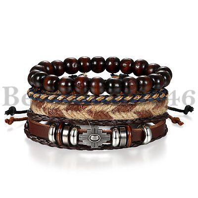 4Pcs Wooden Beaded Bracelet Leather Braided Cross Bangle for Men and Women - Wooden Bangles
