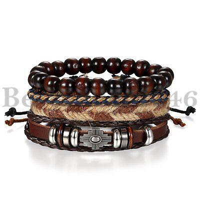 4Pcs Wooden Beaded Bracelet Leather Braided Cross Bangle for Men and Women - Wooden Bangles