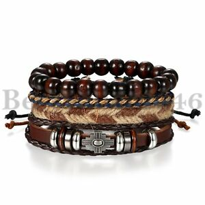 4Pcs Wooden Beaded Bracelet Leather Braided Cross Bangle for Men and Women