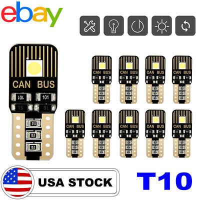 T10 LED License Plate Light Bulbs 6000K Bright White 168 2825 194 CANBUS 10PCS