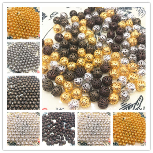 4/6/8/10mm Hollow Ball flower Beads Metal Charms Spacer Bead