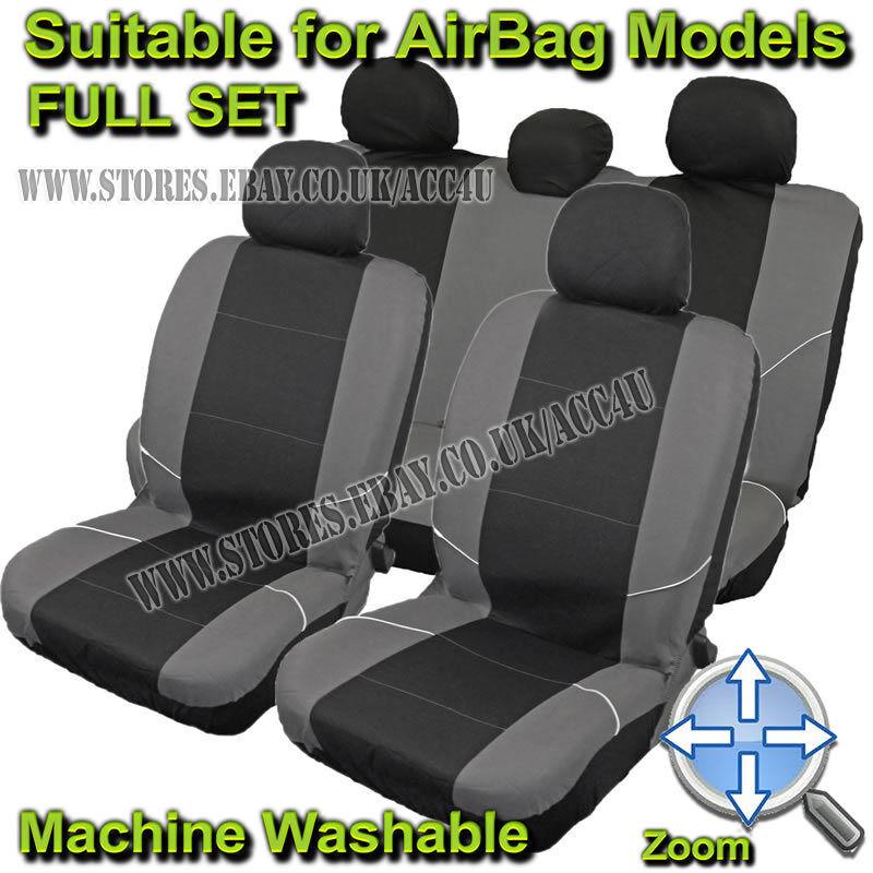 black grey side airbag compatible machine washable car seat covers full set eur 18 52. Black Bedroom Furniture Sets. Home Design Ideas
