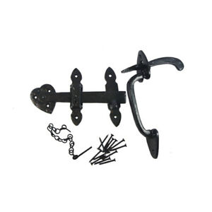 """Nuvo Iron Antique Colonial Thumb Latch, 2-3/8 """"Thick Gate- Black"""