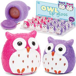 OWL LIP GLOSS BALM GIRLS SWEET FLAVOUR NOVELTY GIFT TOY MAKEUP PARTY BAG FILLER