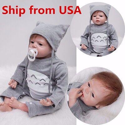 US 22'' Handmade Reborn Toddler Dolls Lifelike Baby Silicone Vinyl Boy Girl Toys