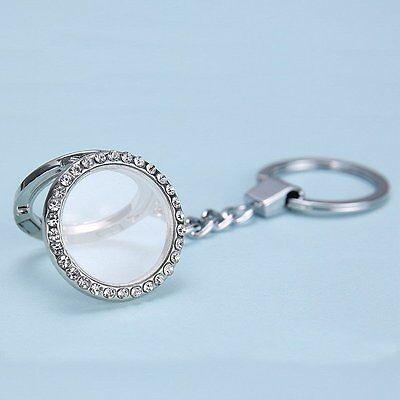 Hot 30mm Round Floating Locket Keychain keyring Fit Diy charm Necklace Bracelet