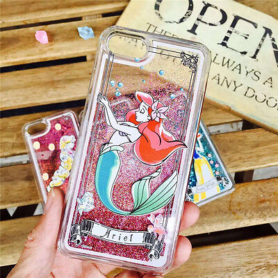 Cute disney Mermaid Princess Liquid Glitter case cover for iphone 7 6 6S 6Splus