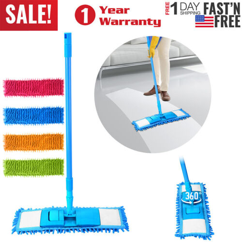 360° Microfiber Noodle Dust Mop Telescoping Pole Floor Easy