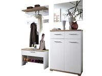 *Made in Germany* Chewton Mendip Hallway Corridor Set Wardrobe Panel Mirror Shoe Cabinet Shoe Bench