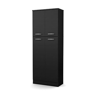 South Shore Storage Pantry Pure Black 7170971 Cabinet 11  X 23 5  X 62  New