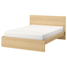 MALM Bed Frame (USED), White Stained Oak with Underneath Storage