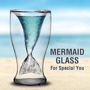 US Mermaid Glass Cup Double Glass Wall Beer Wine Whisky Mug Glassware New