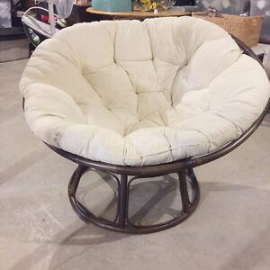 Cream and Dark Rattan Papasan Chair