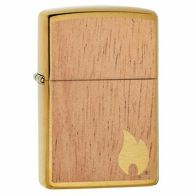 Zippo 29901, Woodchuck USA, Mahogany Emblem, Brushed Brass Finish Lighter