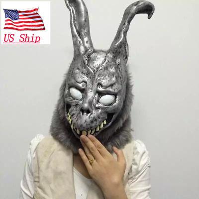 US Donnie Darko FRANK Rabbit Mask The Bunny Latex Hood With Fur Halloween Helmet