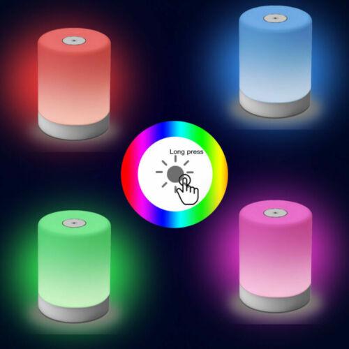LED NACHTTISCH LAMPE AKKU TOUCH SENSOR TISCHLAMPE KINDER NACHTLICHT MIT RGB EU