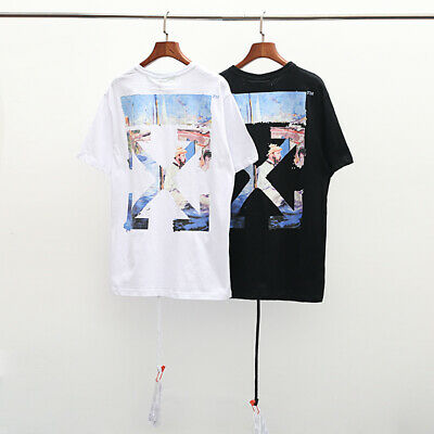 Unisex Off White Oil Painting Arrow Hip-hop Sports Cotton T-shirt Tee Tops
