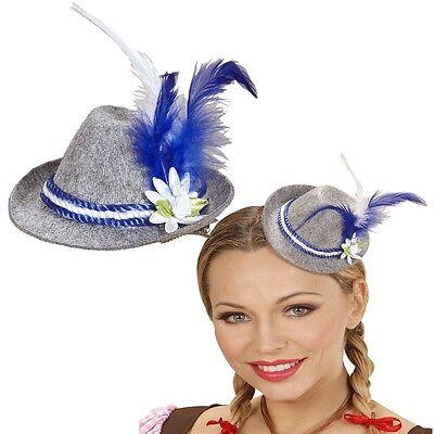 Damen MINI FEDORA Hut  BLAU Tiara Oktoberfest Bayern Wiesn Kostüm - Fedora Hut Kostüm