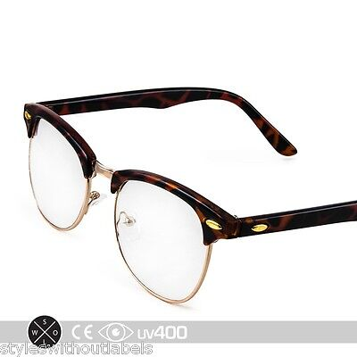 Tortoise Gold Vintage 80s Clubmaster Clear Lens Hipster Nerd Glasses (Clear Clubmasters)